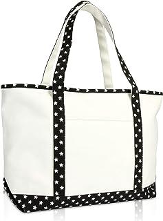 "DALIX 23"" Premium 24 oz. Cotton Canvas Shopping Tote Black Star"