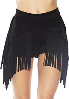Women's High Waisted Fringe Skirt Booty Shorts Tassel Skort