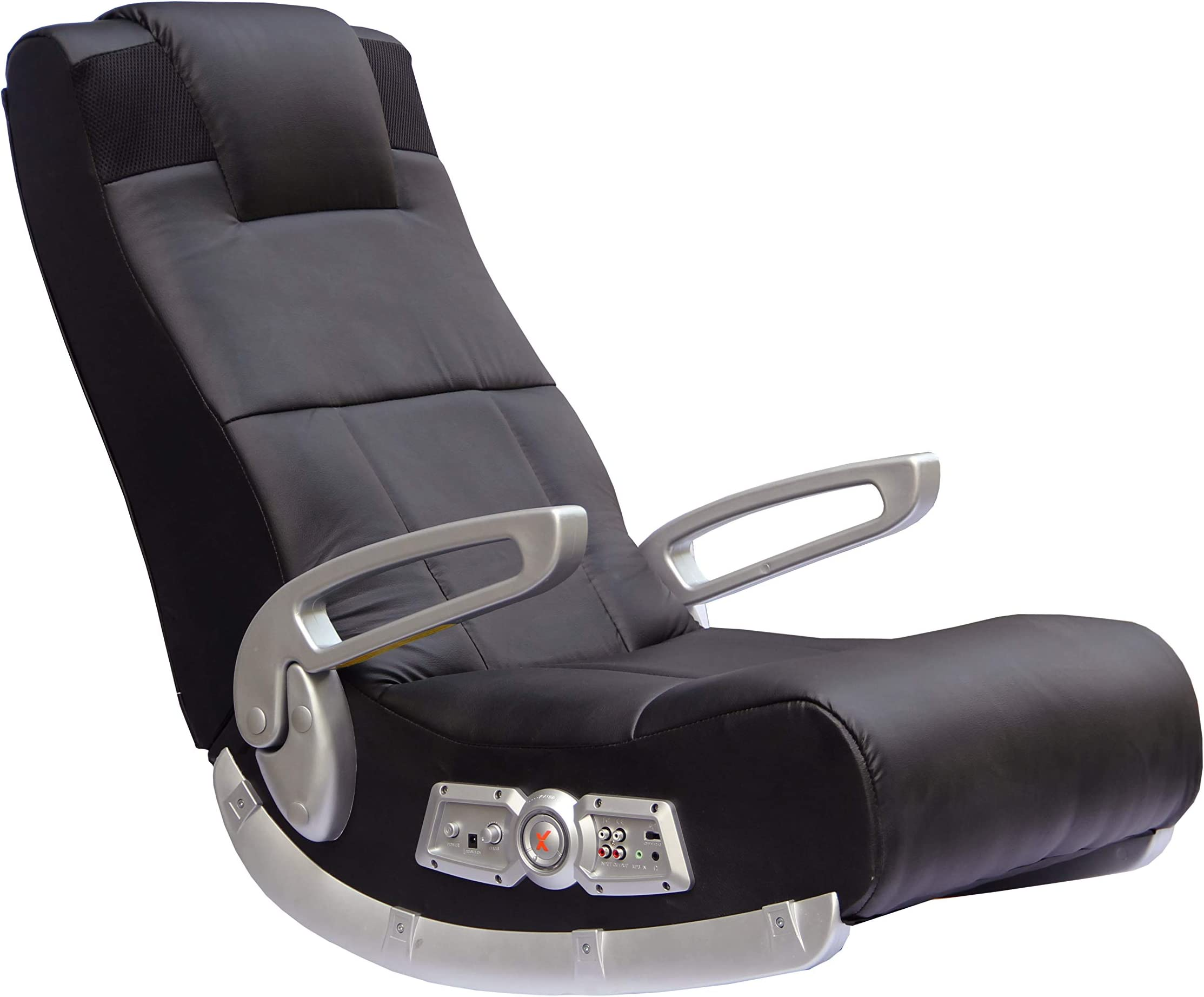 X Rocker, 5143601, II SE 2.1 Black Leather Floor Video Gaming Chair, 27.8 x 18.5 x 17.5, Black