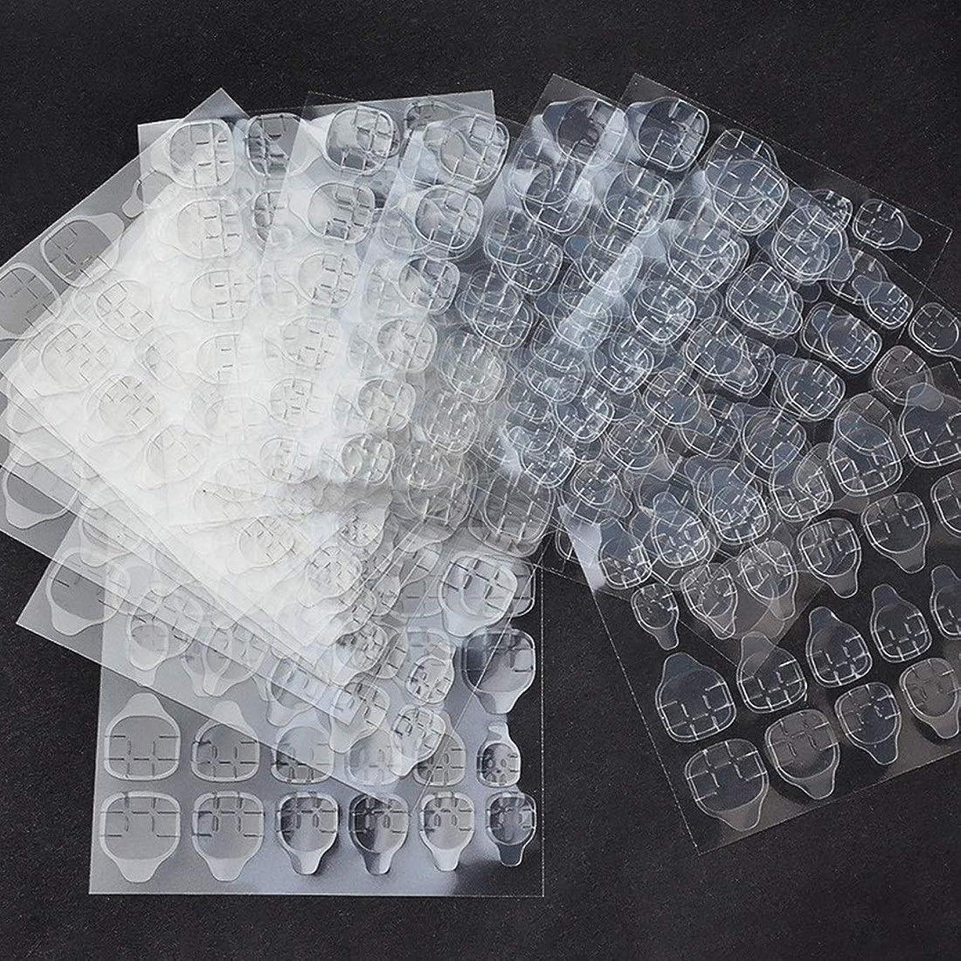 尊敬するできない誘惑ALEXBIAN 10枚防水通気性透明超薄型両面接着タブネイルグルーステッカー偽ネイルのヒント