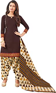 S SALWAR STUDIO Women's Brown & Beige Cotton Printed Readymade Salwar Suit Set