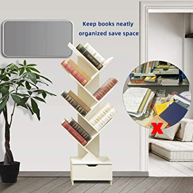SHEEPAM Tree Bookshelf with Drawers, Free Standing Wood Bookcase for Living Room, Bedroom, Home Office, Space Saving Storage