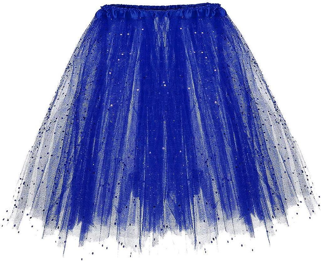 Sayhi Womens Mesh Elastic 3 Layered Short Skirt Adult Tutu Dancing Skirt Summer Beach Skirt Fairy Skirt