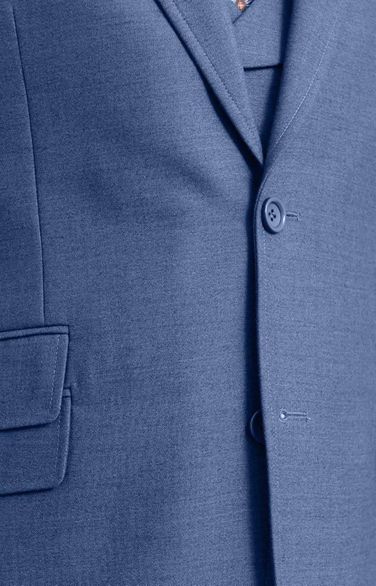 Apollo King Classic Fit Heather Blue 2 Button 3 Piece Wool Suit with Peak Lapels