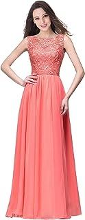 MisShow Damen Kleid Chiffon Lang Mit Spitze Abendkleider Langes Elegantes Kleid Für Hochzeit