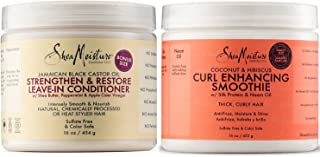 Shea Moisture Coconut and Hibiscus Curl Enhancing Smoothie, 16 Ounce Family Size & Shea Moisture Jamaican Black Castor Oil...