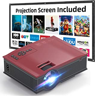 VOKUA 1080P Mini Projector with 100 Inch Projector Screen,LCD Projector Full HD Projector, Supported Compatible with TV St...