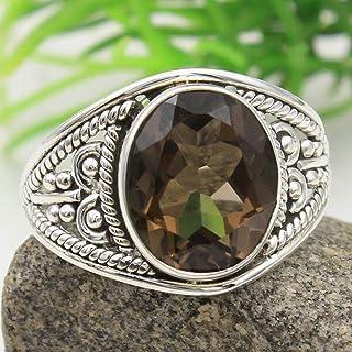 bridesmaid gift Natural Smoky quartz  Ring Handmade Sterling silver ring round gemstone statement ring alternate Engagement ring