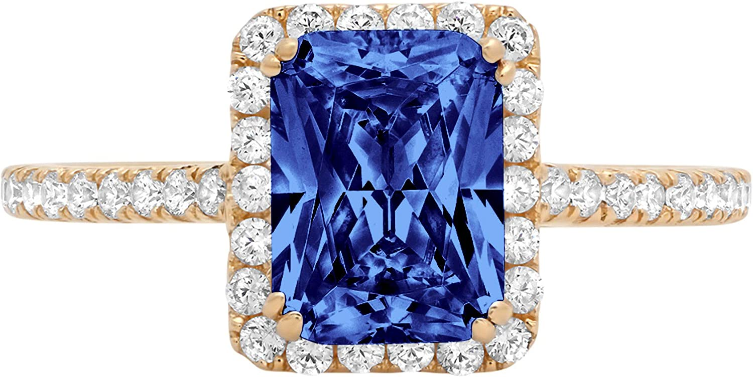 1.98ct Brilliant Emerald Cut Solitaire with Accent Halo Flawless Simulated Blue Tanzanite Ideal Engagement Promise Anniversary Bridal Wedding Designer Ring 14k Yellow Gold