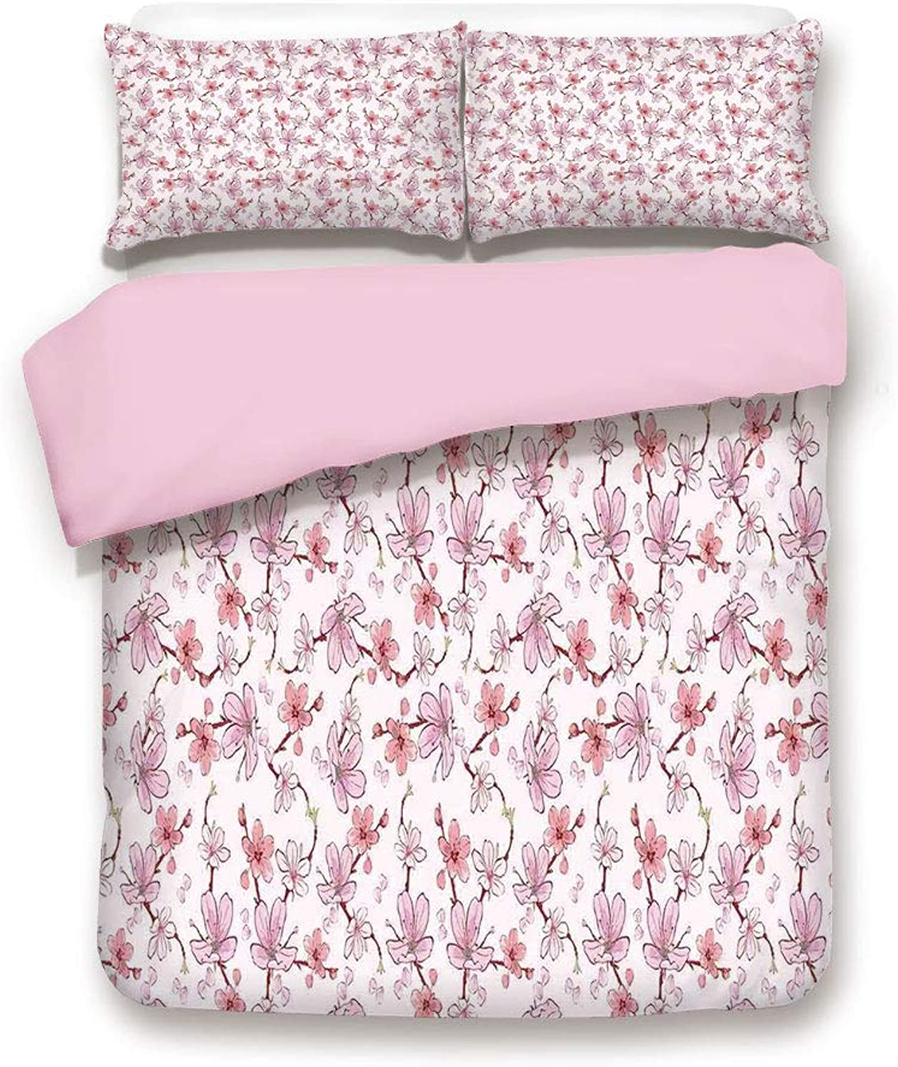 Pink Duvet Cover Set,FULL Size,Cherry Sakura Flowers Romantic Branch Blossom Spring Petal pink Vibrant colord,Decorative 3 Piece Bedding Set with 2 Pillow Sham,Best Gift For Girls Women,Pastel Pink W