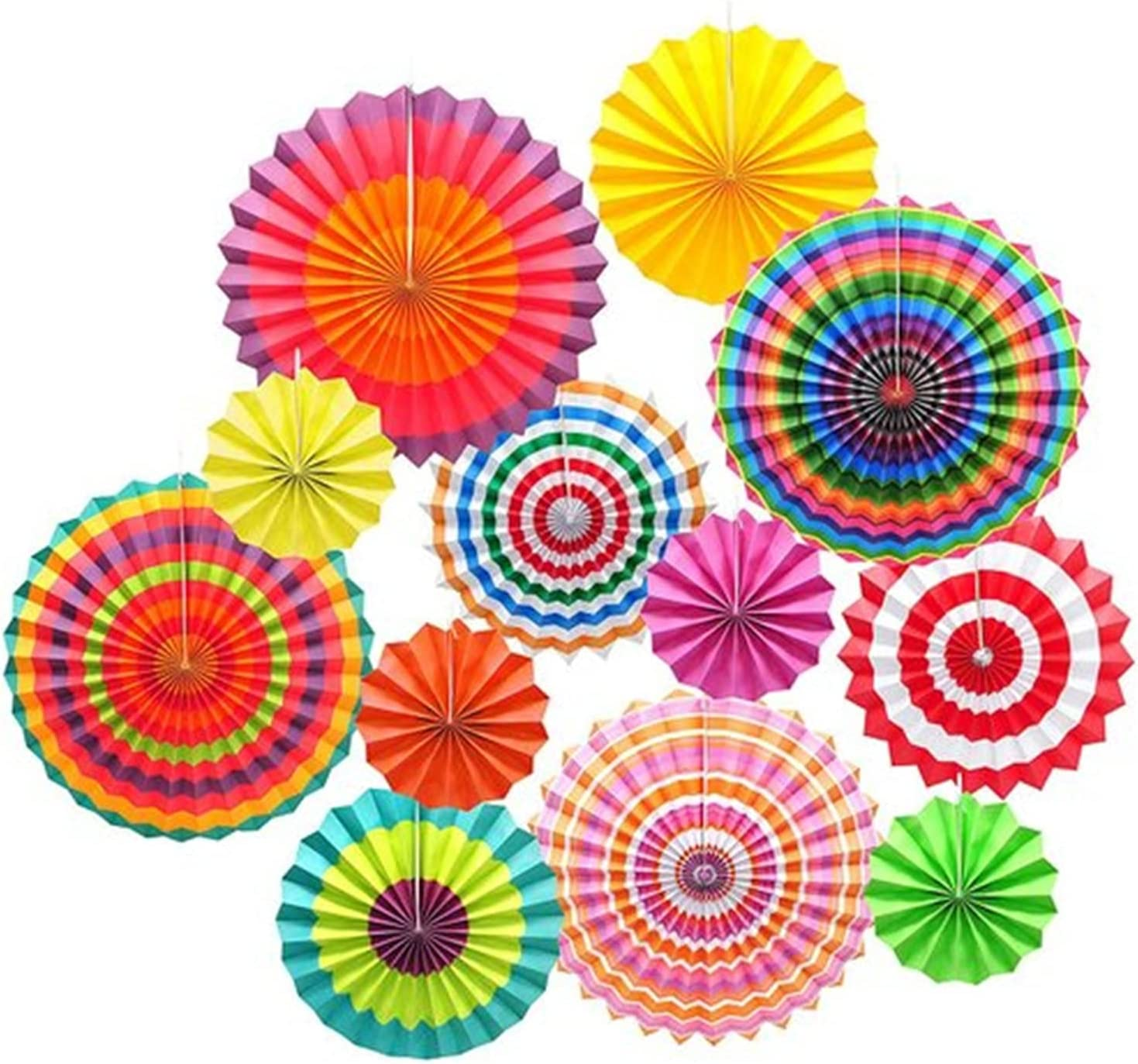 Cash special price YXYX Chinese Lanterns 12 Pcs Hanging Circle M Max 51% OFF Paper Colorful Fan