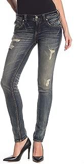 Womens Distressed Skinny Dark Jeans