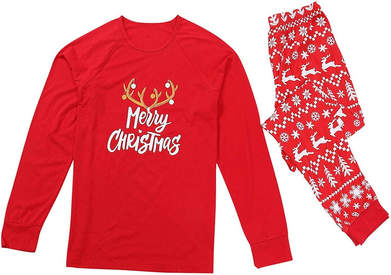 ANJUNIE Holiday Stay at Home Sleepwear Christmas Cartoon Pajamas Plaid Family Matching Tops Pants Set
