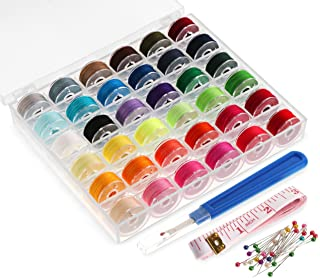 ilauke36Pcs Bobbins and Sewing Thread with Case for Singer Brother Janome Babylock Kenmore Machine