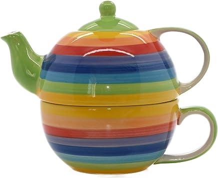 Preisvergleich für Windhorse Rainbow Striped Ceramic Tea for One Set by Windhorse