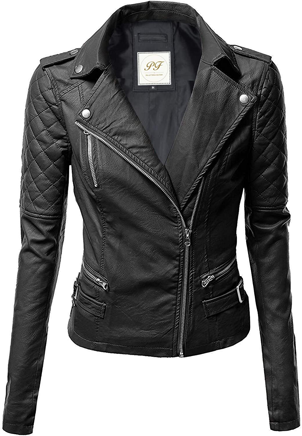Pelletteria Factory Notch Collar Quilted Biker Faux Leather Jacket for Women