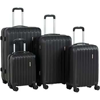 "Murtisol Travel 4 Pieces ABS Luggage Sets Hardside Spinner Lightweight Durable Spinner Suitcase 16"" 20"" 24"" 28"",4PCS Black"