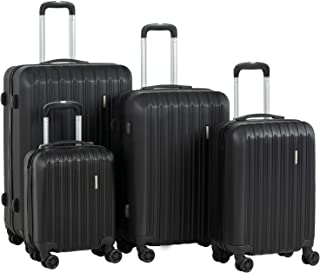 """Murtisol Travel 4 Pieces ABS Luggage Sets Hardside Spinner Lightweight Durable Spinner Suitcase 16"""" 20"""" 24"""" 28"""",4PCS Black"""