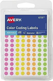 ملصقات رموز ملونة دائرية من أفيري بقطر 0.63 سم، متنوعة قابلة للإزالة، عبوة من 480 قطعة (6720)
