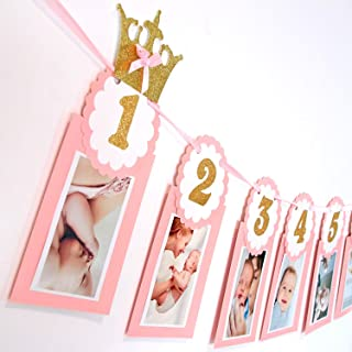 Soccerene Pink 12 Months Photo Banner   Gold Glitter Wordings   Girl`s First Birthday Decorations