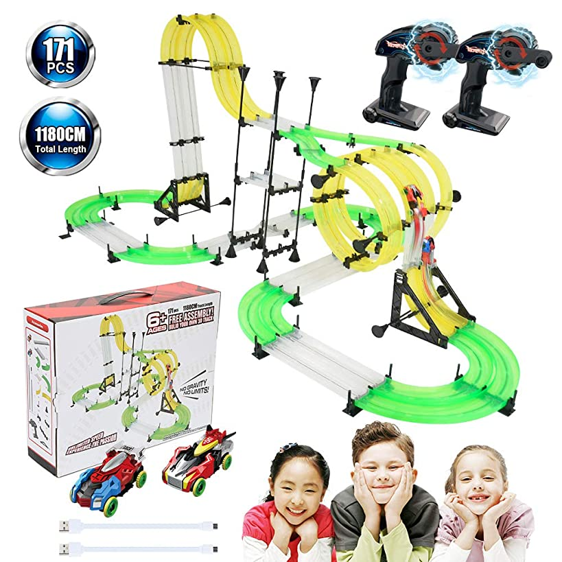 Racing Track Car Toys, 171pcs 38.7ft DIY Rail Car Race Track Set 2 Cars 2 Remote Controller, Build Your Own 3D Super Track Car Playset, Birthday Party Festival Gift with Free Assembly for Children