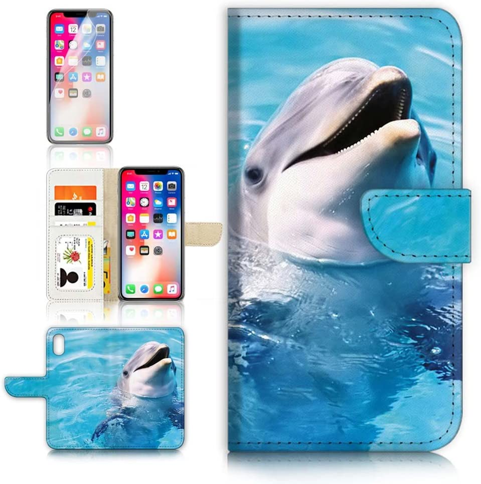 (for iPhone XR) Flip Wallet Case Cover & Screen Protector Bundle - A8204 Dolphin