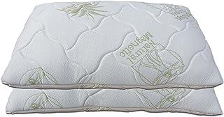 Baldiflex Lot de 2 oreillers Flocons en Mousse à mémoire de Forme, Dimensions 72 x 42 H 15 cm, Aloe Vera