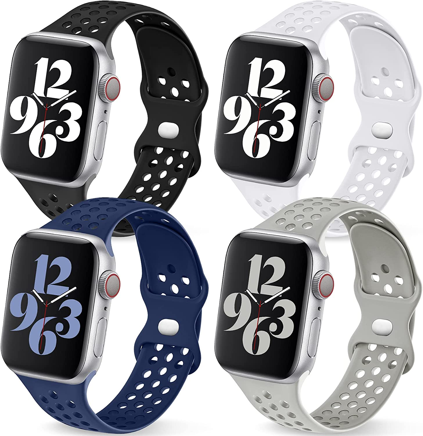 Getino Sport Bands Compatible with Apple Watch Band 40mm 41mm 38mm 42mm 44mm 45mm for Women Men, Cute Stylish Soft Slicone Sport Strap for iWatch Series 7 6 5 4 3 2 1 SE, Black/White/Dark Blue/Gray