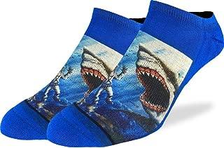 Men's Shark Attack Ankle Socks - Blue, Adult Shoe Size 7-12