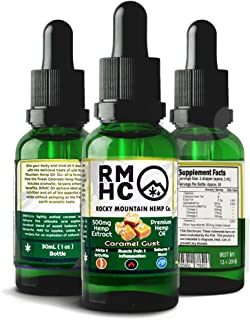 Rocky Mountain Hemp Co : Premium Full Spectrum Hemp Oil for Pain Relief : Sleep Aid :: Supports Stress, Anti Anxiety: Herbal Health Supplement Drops : Rich in Omega 3 6 9 (Caramel, 500)