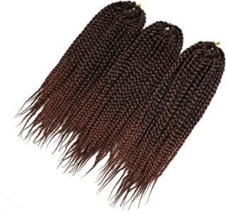 Crotchet Braids Box Braids Hair Extensions Ombre Black Brown Burgundy Kanekalon Braiding Hair (14inch,1B-30)