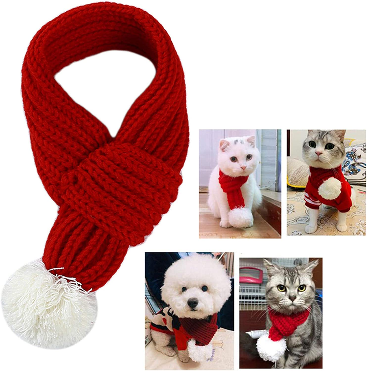 Beeinch Soft Dog Scarf Christmas Pet Knitted Decoration Scarf Christmas Party Pet Decoration Clothing,Large