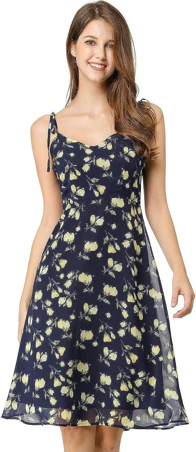 Allegra K Women's Summer Spaghetti Strap Aline Dress Smocked Floral Sundress