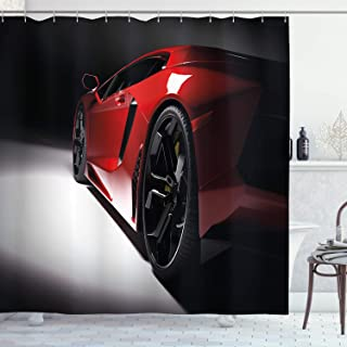Lunarable Nursery Shower Curtain, Modern Speed Sport Car Vivid Toned Exquisite Automobile Image, Cloth Fabric Bathroom Decor Set with Hooks, 70