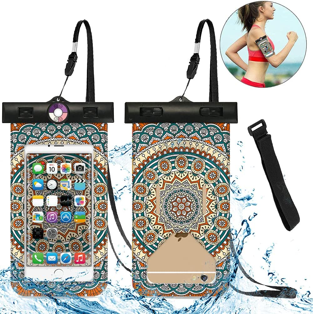 Universal Waterproof Phone Pouch - IPX8 Large Waterproof Phone Case Cell Phone Dry Bag with Armband for iPhone Pro XS XR XS 12 11 10 9 8 7 6 Plus,SE, Samsung S10 S10+ S9+ S9 S8+,Note,up to 6.5