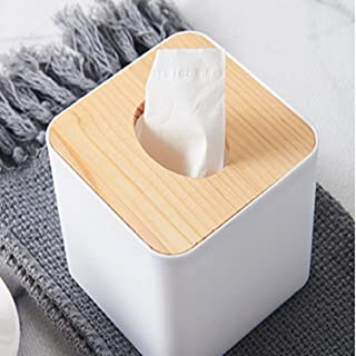 Junsu Kang Tae Oh Box Paper Towels - Cover Paper Organizers Box Solid Wooden for Living Room Creative for Household European Simple Napkin Storage Bin (Square)
