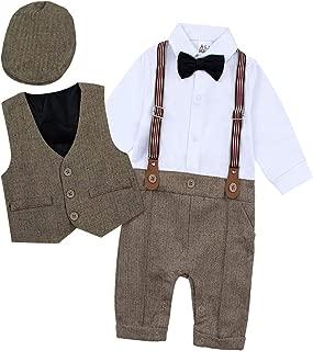 BECOS ベビー服 男の子 フォーマルスーツ ロンパース タキシード 出産祝い 結婚式服 (ブラウン, 80)