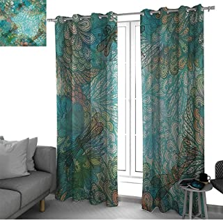 Benmo House Dragonfly Window Curtains for Living Room Fantasy Flowers Mixed in Various Tones Shabby Chic Feminine Beauty Print Curtains for Bedroom Turquoise Amber W84 x L84 Inch