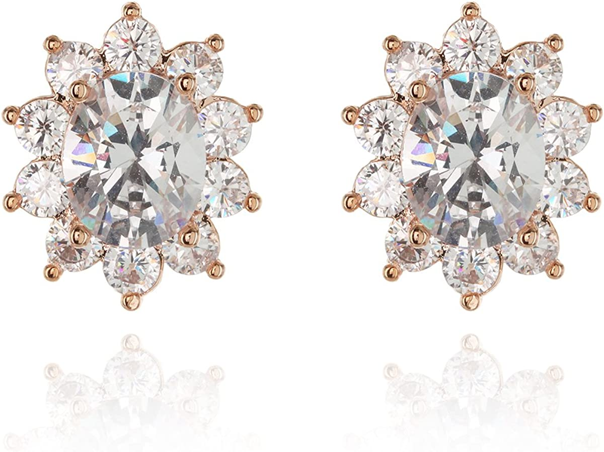 SP Sophia Collection Women's Cubic Zirconia Gold Plated Floral Halo Stud Clip On Earrings