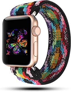 YOSWAN Stretchy Loop Strap Compatible for Apple Watch Band 40mm 38mm 44mm 42mm iWatch Series 6/5/4/3/2/1 Stretch Elastics Wristbelt (Aztec Style Colorful, 38mm/40mm)