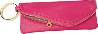 Mud Pie Women's Fashion Bangle Vegan Leather Pink Cuff Clutch Purse