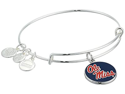 Alex and Ani Color Infusion, University of Mississippi Charm Bangle (Shiny Silver) Bracelet