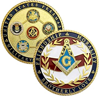 US Masonic Veteran Challenge Coin Military Family Collectibles-Army Navy Air Force Marine Corps Coast Guard