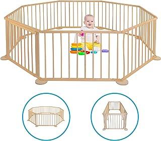 Parque para bebé – de madera – Plegable – Parque móvil – Valla para niños XXL – Barrera de barrera para interior – Escuela para jardín – Plegable – rectangular – Grande