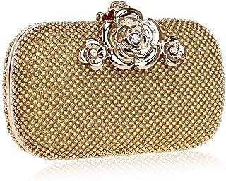 GLJJQMY Dinner Bag Diamond Female Makeup Evening Dress Fashion Banquet Clutch Evening Bags (Color : Gold, Size : 16x9.5x5cm)