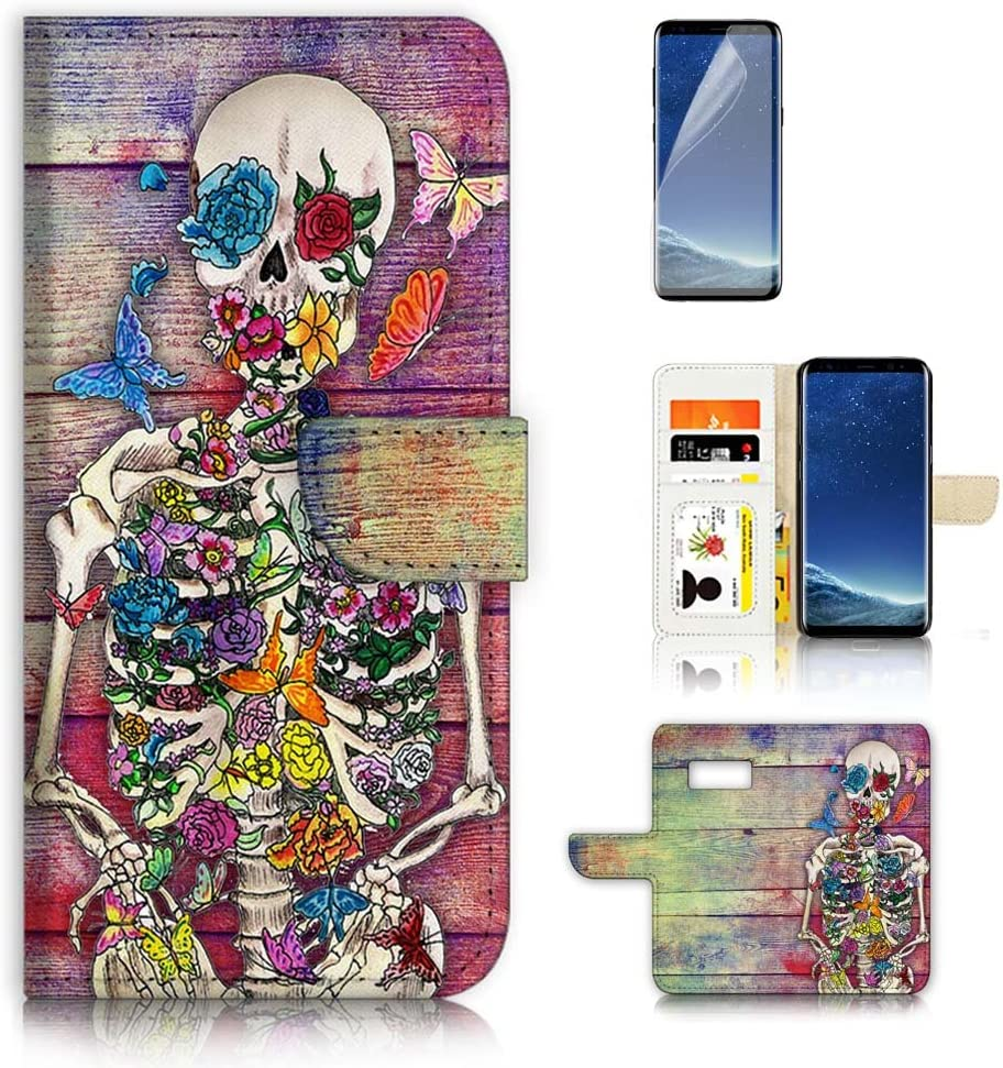 (for Samsung S8, Galaxy S8) Flip Wallet Case Cover & Screen Protector Bundle - A20325 Sugar Skull Skeleton