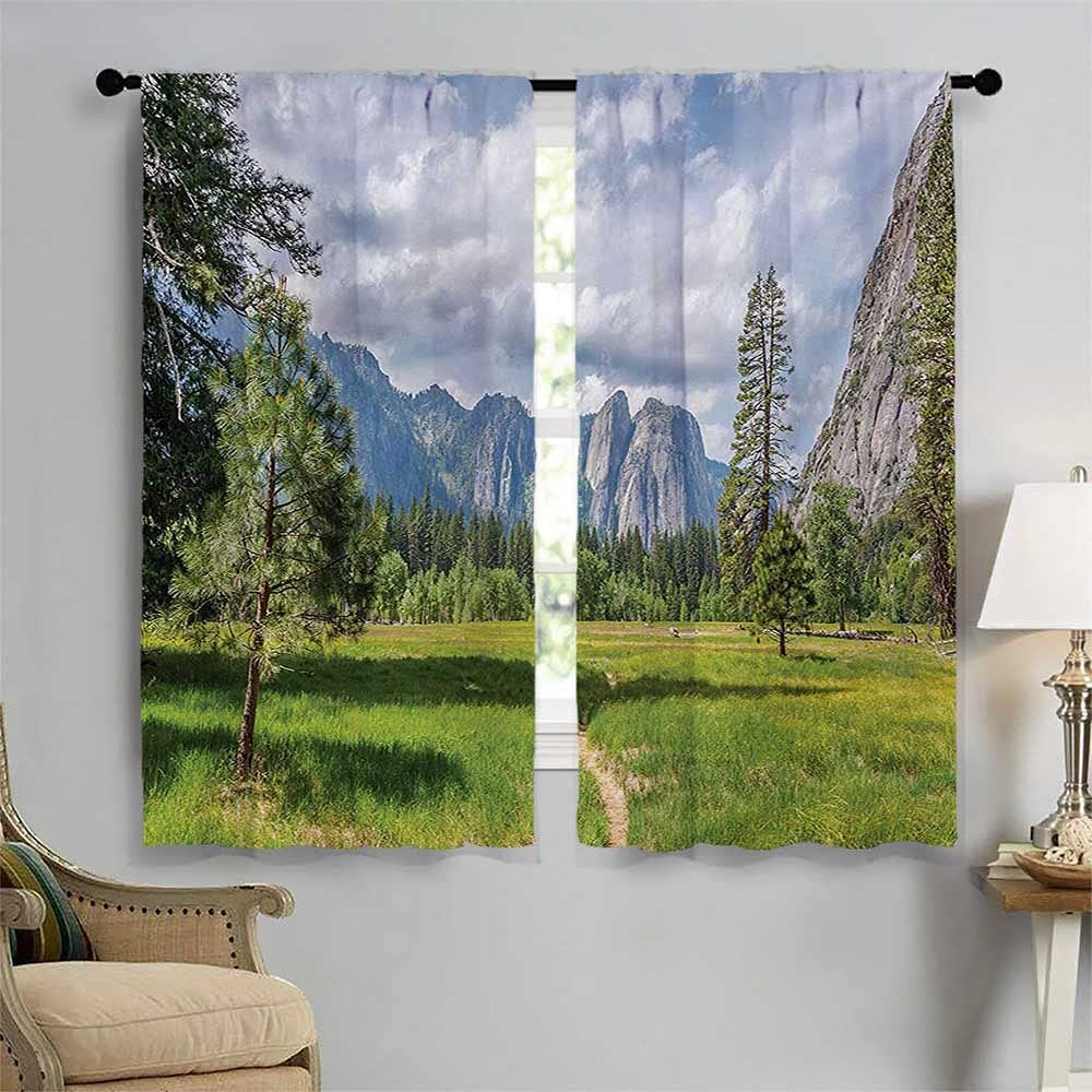 Yosemite Popular overseas Kitchen Curtains Valley Flu Trees Outlet sale feature with Meadows