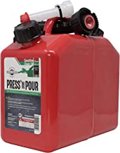Garage Boss 2 Cans In 1 Press N Pour Metal 1.5 Gallon Gas and 2.5 Quart Oil Portable Storage Fuel Container with Spout and...