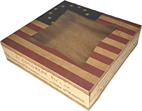 "6 Patriotic 4th of July Bakery Take Out Boxes Made in The USA (10"" x 10"" x 2.5"", American Flag)"