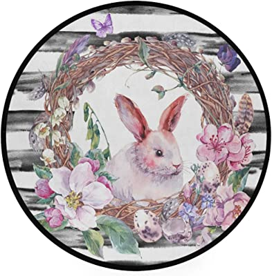 Blueangle 3' Bunny Spring Floral Butterfly Round Area Rug for Living Dining Room Bedroom Hallway Office Carpet Easy Clean Rug